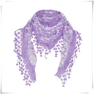 Lace Crochet Embroidery Hair TIe Triangle Scarf
